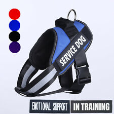 Reflective Large Dog Chest Plate Harness Removable Patches IN TRAINING EMOTIONAL
