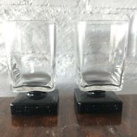 Di Saronno DiSaronno Black Square Footed Rocks Cordial Bar Glasses Lot of 2