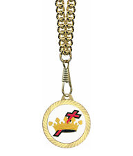 Knights of Templar Gold Color Pendant Cross and Crown w/ Necklace