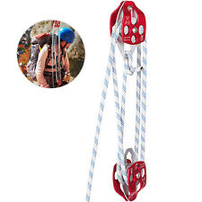 """Twin Sheave Block and Tackle 7700Lb Pulley System 1/2"""" 150ft Rigging Rope"""