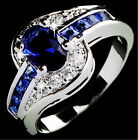 Lianzhi Brand Jewelry Oval Blue Sapphire White Gold Filled Wedding Ring Size 7-9