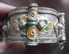 Bracelet manchette ethnique en argent massif - Art orfèvrerie berbère Maroc 77Gr