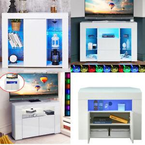 Modern RGB LED Corner TV Stand Unit Cabinet Cupboard Sideboard High Gloss Doors