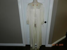 Ladies/Womens Vintage Lorraine Long Peignoir Robe -Ivory M gown lace trimmed