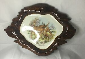 """Vintage Pottery Brown & Cream Platter w/Picture of White Tail Deer 13"""" x 10"""""""