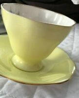 EB FOLEY Bone China Made In England pale yellow Floral Coffee Tea Cup & Saucer