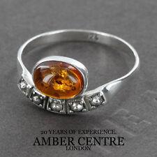 Fiery Arancione Ovale Ambra Baltica In Alla moda Argento 925 WR264 Misura O