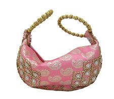 Trendy Paisley Print Pink & Gold Hobo Style Wristlet Handbag