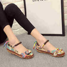 Ethnic Women Lace Up Beading Round Toe Flats Colorful Embroidered Loafers Shoes