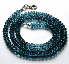 NATURAL LONDON BLUE TOPAZ Micro Faceted RONDELLE BEADS NECK.5.5 - 5.8 MM 18 INCH