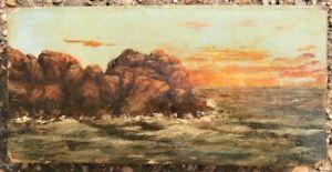 Luminist Hudson River School Artist Oil Painting ca 1865 Exhibited Oyster Fleet