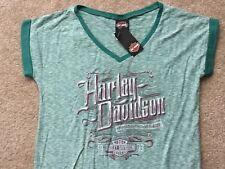 Harley Davidson V Neck Green Striped Shirt NWT Women's XXL