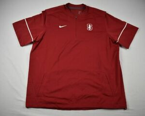 Stanford Cardinal Nike Pullover Men's Red Poly Short Sleeve Pullover NEW 2XL