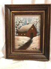 Dimensional Wood Painting Country Cottage Winter Scene signed Dalia