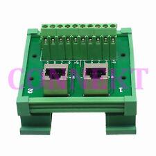 1pce Ethernet 8P8C Dual RJ45 female jack AV Terminal PCB rail Mounting Carrier