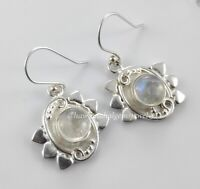 Solid 925 Sterling Silver Rainbow 5 MM Earrings Natural Birth Moth Moonstone