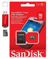 SanDisk MicroSD HC 16GB 16G Micro SD Flash Memory Card w Adapter Red Card Reader