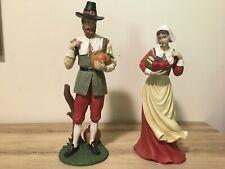 Pilgrim Man & Woman Thanksgiving Statues Figurines Tabletop Fall Harvest Decor