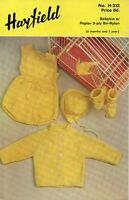 Vintage Hayfield Knitting Pattern 212 Tiny Tots Set for 6 Months to 1 Year 3 Ply