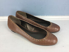 Talbots brown snake embossed leather studded ballet flats Excellent 6 Career