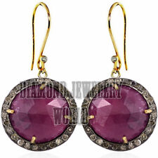 Studded Silver Victorian Hook Earring Jewelry 1.25cts Pave Rose Cut Diamond Ruby