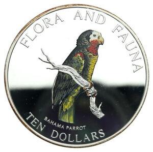 Flora and Fauna, Bahama Parrot, Bahamas, 10 Dollars, 1995, 5 oz. of .999 Silver