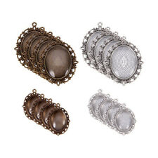 2 Sets Tibetan Alloy Pendant Setting Bezel Bases Silver Bronze & 25x18mm Covers