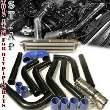 "28""X7""X2.5"" Turbo Intercooler Fmic W/2.5"" Aluminum Piping Pipe Kits Black/Blue"