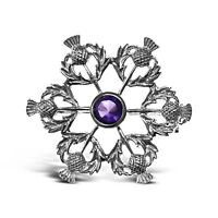 Sterling Silver & Amethyst Thistle Brooch