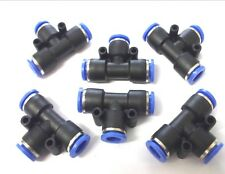 6 x 8mm T-Piece Push fit connectors. Pneumatic. Joiners. Plumbing *Top Quality!