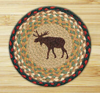 """MOOSE 100% Natural Braided Jute Swatch 10"""" Trivet/Placemat, by Earth Rugs"""