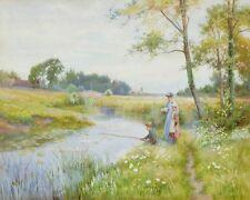Walter Bishop Boy pesca con chicas jóvenes que buscan sobre lienzo - 24'