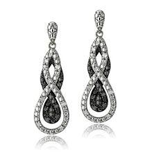1/4 Ct Black & White Diamond Intertwining Infinity Dangle Earrings in Brass