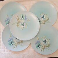"""5 Vtg MCM  Melmac Melamine Dinner Plates Poppy Blue Floral Spring Morn 9.75"""""""