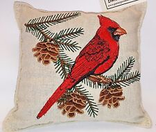 "Paine's BALSAM FIR PILLOW 5""x5"" EMBROIDERED CARDINAL pine sachet PINECONE"