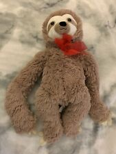 """Stuffed """"hugging"""" Sloth With Red Bow And Velcro Gripping Arms"""