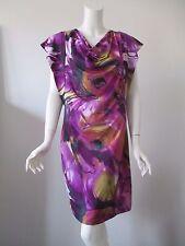 Komarov Dress Purple Abstract Floral Prints Cowl Neck Stretch Body Fit Dress M