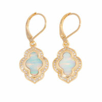 GORGEOUS   WHITE FIRE OPAL  YELLOW   GOLD LEVERBACK EARRINGS