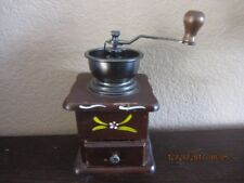 VINTAGE COFFEE GRINDER. HAND CRANK MILL. HAND PAINTED FLOWERS. FRONT DRAWER