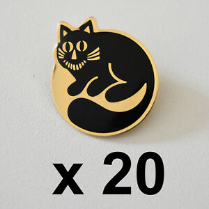 20 x Vintage Cheshire Cat Pin Brooches 1980s Wholesale Bulk Lot