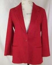L.L. Bean Red Wool Cashmere Blazer Coat Women's 1 Button Lined U.S.A 8P Petite