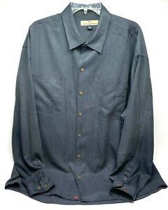 Tommy Bahama Mens Button Down Shirt Size XL Gray Long Sleeve 100% Silk