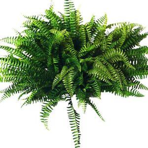 10Pcs Artificial Boston Fern Bush Silk Plant Hanging Fake Greenery Home Decor
