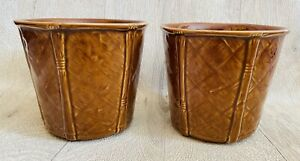Vintage Brown Churchill England Bamboo Indoor Planters Ceramic Plant Pots X2 70s