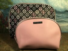 5bb32ca2f577 Adrienne Vittadini Pink Black Cosmetic Makeup Travel Bag Set 2 Dome Womens  Lot