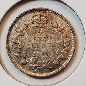 1919 Canada 5 SILVER five cents - COMBINED SHIPPING - C5-046