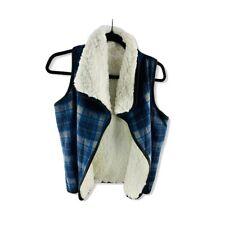 NWT $34.97 MELROSE AND MARKET Womens Blue White Faux Fur Reversible Plaid Vest