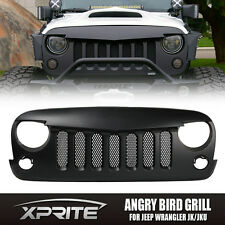 Black Front ABS Matte Grill with Mesh Angry Bird Grid For 07-17 Jeep Wrangler JK