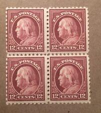US Washington Franklin Issue: Scott #474 12c Franklin Block 4  MNH OG SUPERB!