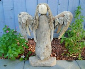 Amazing Quality Hand Made Driftwood Wooden Angel 50 cm Garden Patio Home Decor